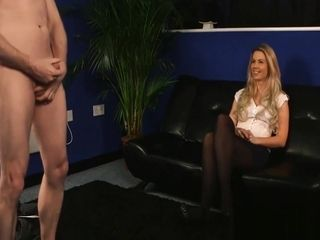 Shy cougar sees stud stroking During conversation