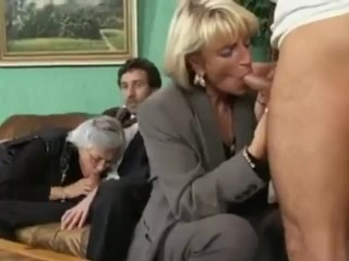 Grey Haired grannie dual boned in a four way