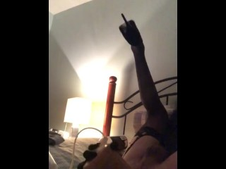 Insane Sissy fuckslut penetrates boypussy with fake weenie and gets creampied