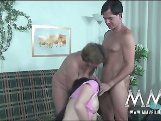 Mature bitch and her young lusty pal please one hungry stud