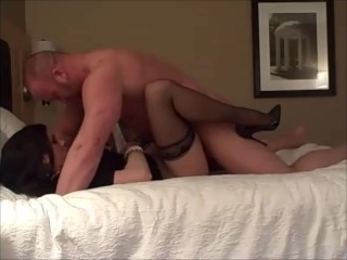 Unexperienced cougar penetrated in motel apartment