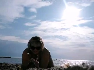Wonderful plus-size on beach toying with sand, super-fucking-hot plump