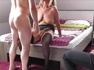 Wifey gets pulverized as cuck spouse observes then cleans up