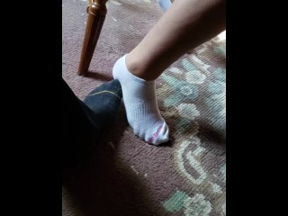 Candid socks footsie with buddies cougar mummy