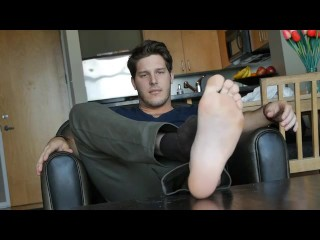 Kevin demonstrates his bare soles