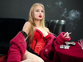 The super hot light-haired girl smokes a ciggie. - super hot body, killer giant breasts! Outstanding!