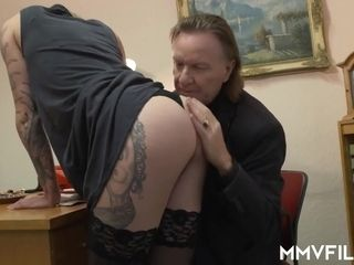 Sina Longleg is a humping, inked ash-blonde who enjoys to have casual romp at work