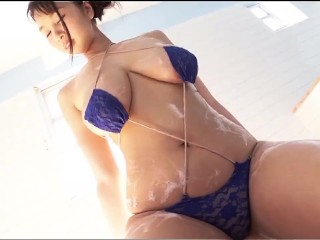 Rei Takanashi Soap up in lil' blue bathing suit [ erotic ]