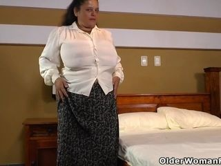 Latina bbw Rosaly lets us enjoy her meaty milk cans and massive ass