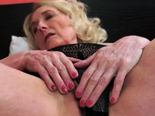 Saggy grandmother in lingerie gets spooned