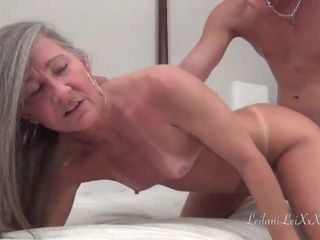 Insane mature with grey hair loves her snatch eaten out by young dudes