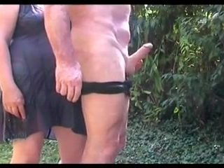 I smack my hubby's bootie and fondle his spear in the garden