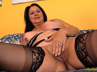 Mature brown-haired Leylani boner kneads Her vulva and pokes a stud