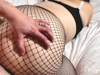 Uber-sexy plumper in fishnets gets her bum covered in jism while clothed in a bum ass-plug