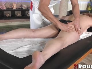 Mature Christine milky pulverized by youthfull fellow after rubdown
