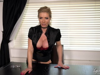 Brit cougar Lynda Leigh Office taunt supremacy manager wants you to jack off