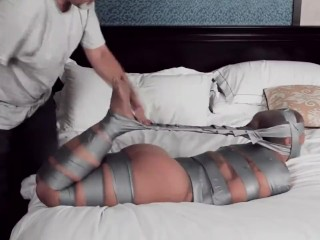 Female mummified in stocking and duct gauze part one