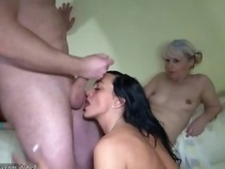 Old granny and Nice woman using strapon