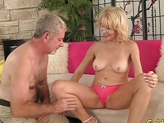 Blond GILF Erica Lauren Gets gobbled by lucky Geezer Before riding His cock