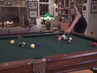Fledgling Wives munching And tugging On The Pool Table