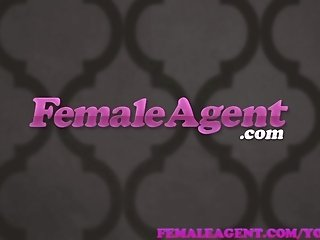 FemaleAgent MILF agent wastes no time seducing sexy stud on couch