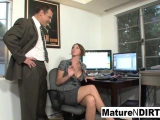 Huge-titted cougar accountant drills her favourite customer