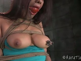 Big tittied shibari chick gets her pussy finger fucked by horny black guy