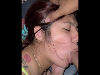 Mia Summer guzzling XXL geyser while she's barrd out