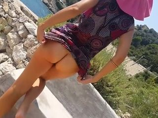 NO underpants under sundress & getting off on PUBLIC trail