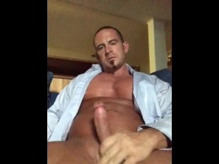 Just some t-shirt unbuttoned messy chat fapping from daddy's office
