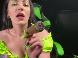 My very very first-ever 8x80 yam-sized CIGAR ! Pt 1 - smoking princess taunts you with her ash