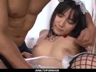 Big-chested maid eliminates uniform for a yam-sized chinese fellowmeat - More at 69avs com