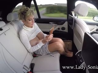 Ample tit mature woman Sonia unveils her bumpers in the truck