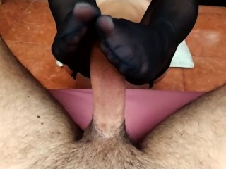 Ruined climax from footjob, pantyhose will make you jizz two times 60fps