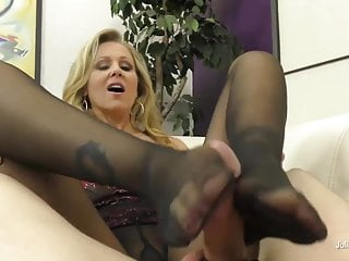 Julia Ann Uses Her soles and gams To Milk Her guy fucktoy! Wow!
