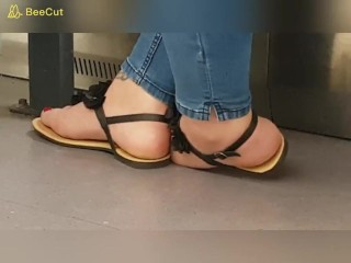 Candid teenage soles in Sandals