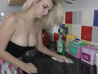 Steamy Christine with cute ass and downblouse showing off for devotees