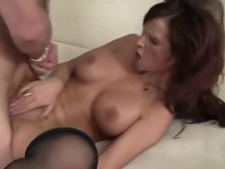 Crimson haicrimson mature with gigantic funbags is deep throating her paramours rigid pecker and getting slammed with it