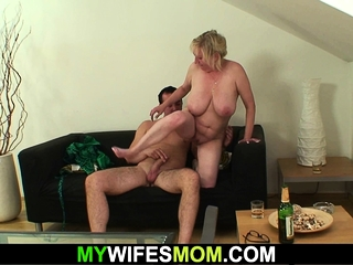Big-titted grannie mother enjoys sucking and riding his stud-meat