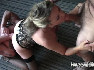 Stunning wifey collective with three dudes in super-fucking-hot motel guest room (1)|1::Big orbs,20::MILF,22::Gangbang,26::Blonde,three8::HD,60::Rough