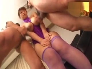 Japanese cougar is timid to show pussy but finally permit those studs to bang her !