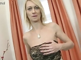 Hot blonde housewife playing with her dildo