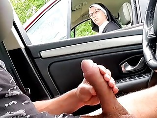 I extract my stiffy on the motorway area, this nun is dazed