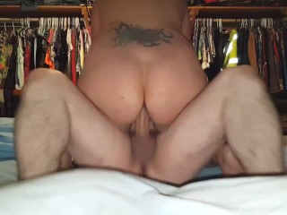 Wife's gash fucked rock hard before sofa and jism in her gullet.