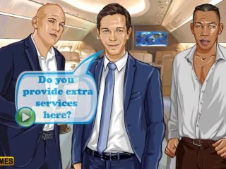 Stewardess is having bang-out for currency with trio wealthy dudes