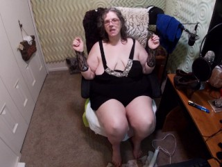 Plumper grandmother attempting on hips and chats about her friend's smallish spunk-pump