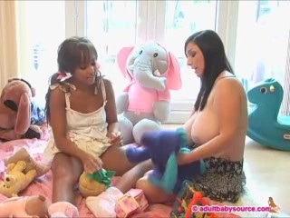 Fat jugged nanny plays with baby