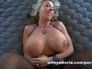 """Busty wife Gets boinked And gulps A enormous Cumshot"""