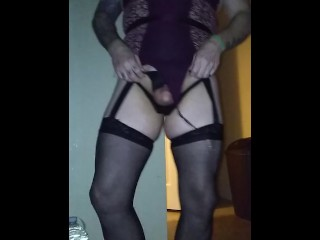 Sky getting well-lubed up in panties and tedy