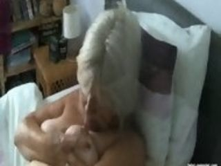 68 yr aged grannie tonguing her own puffies
